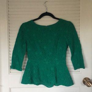 Emerald peplum lace blouse